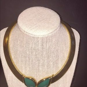 Monet Green Enamel Leaf Necklace Choker